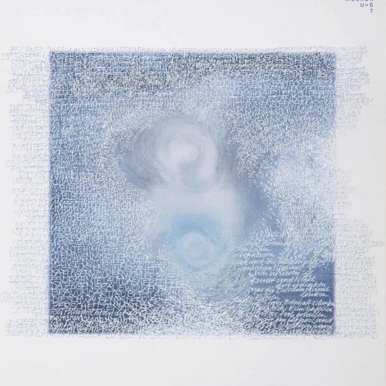 Stefan Kaiser, Beim Zeichnen des Himmels, 2020, 50 x 40 cm, Farbstift, weiße Tusche, Fotografie