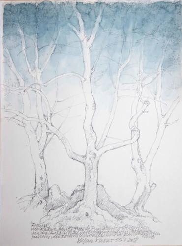 Stefan Kaiser, Danse makabre, 2018, Bleistift, Farbstift, Aquarell, 31 x 23 cm, Privatbesitz