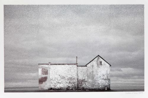 Stefan Kaiser, Das weiße Haus, 2014, 43,5x70cm, Fotografie und Zeichnung, Privatbesitz
