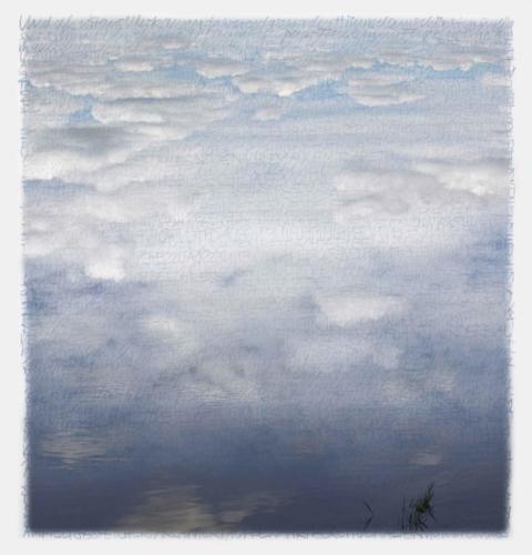 Stefan Kaiser, Die Farben des Himmels -im Wasser, 2017, 38 x 36,5 cm, Digitaldruck auf Papier und Alu-Dibond