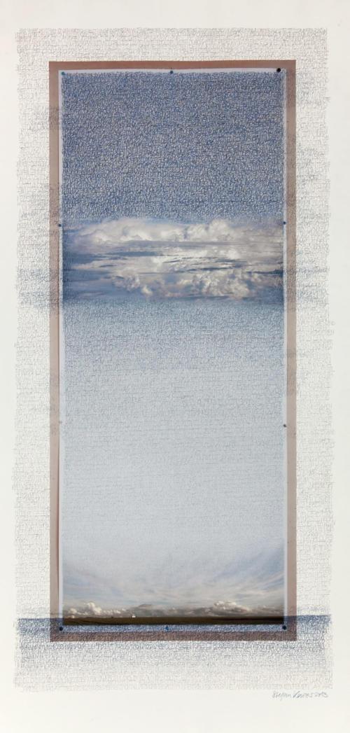 Stefan Kaiser, Doppelhimmel 2013, Fotografie, Farbstift, 120 x 60 cm