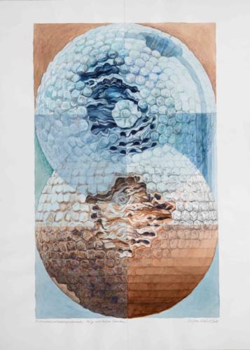 Stefan Kaiser, Entmaterialisierungsversuch, 2008, Bleistift, Farbstift, Aquarell, 90 x 70 cm