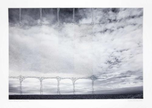 Stefan Kaiser, Gedankengängerbrücke, 2016, 52 x 76 cm, Fotografie, Zeichnung, Collage, Eisendraht
