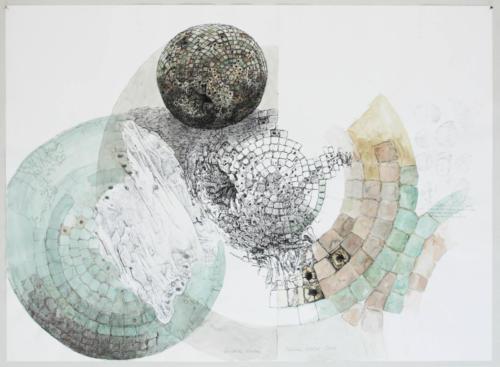 Stefan Kaiser, Gestörte Kreise, 2007, Bleistift, Farbstift, Tusche, Aquarell, 62,5 x 85 cm