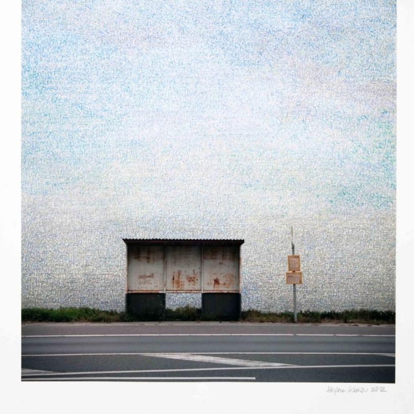 Haltstelle I, 2012, 80 x 57,5 cm, Fotografie und Zeichnung