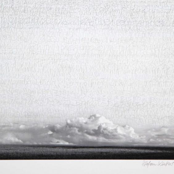 Stefan Kaiser, Himmel mit Wolken, 2013, 45 x 35 cm, Fotografie und Zeichnung, Privatbesitz