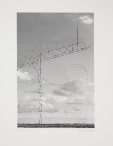 Stefan Kaiser, Himmelsbrücke, 2016, 38 x 25,5 cm, Fotografie, Zeichnung, Collage, Eisendraht, Privatbesitz