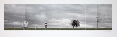 Stefan Kaiser, Manchmal verschieben sich die Dinge, 2014, 45 x 140 cm, Fotografie und Zeichnung