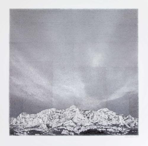 Stefan Kaiser, Montagne Ste. Victoire, 2014, 78,5 x 80 cm, Fotografie und Zeichnung