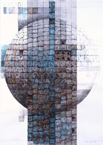 Stefan Kaiser, Der rote Faden, 2007, Farbstift, Bleistift, Aquarell, Privatbesitz