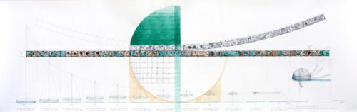 Stefan Kaiser, Die Quadratur der Kugel, 2011, Bleistift, Farbstift, Aquarel, 50 x 156 cm