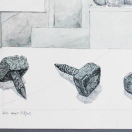 Stefan Kaiser, Die drei Nägel, 2007, 39,8 x 31,8 cm, Bleistift, Aquarell