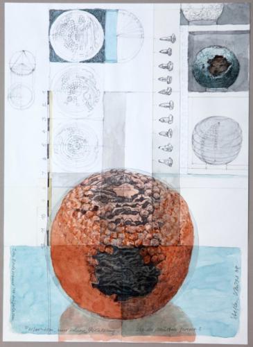 Stefan Kaiser, Ist der Maßstabgerecht, 2008, Bleistift, Aquarell, Collage, 41 x 29,5 cm