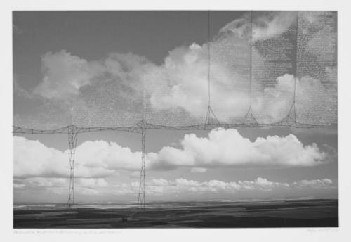 Stefan Kaiser, Konstruktion zur genaueren Betrachtung von Erde und Himmel, 2016, 49 x 73,5 cm, Fotografie, Zeichnung, Eisendraht, Privatbesitz