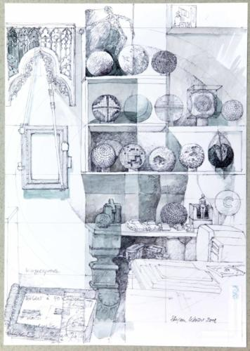 Stefan Kaiser, Kugelspiele, 2008, Bleistift, Aquarell, Collage, 42 x 29,5 cm