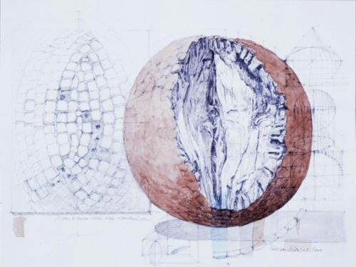 Stefan Kaiser, Man kann nicht alles konstruieren, 2008, Bleistift, Aquarell, Privatbesitz