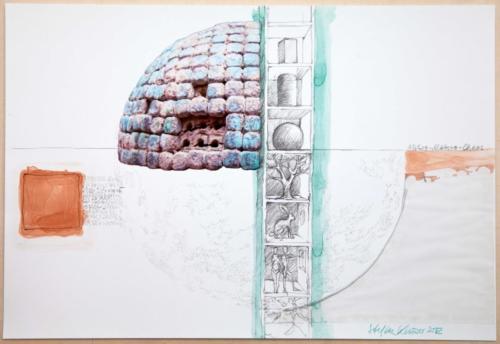 Stefan Kaiser, Mikro-Makro-Chaos, 2012, Fotografie, Farbstift, Aquarell, Collage, 33 x 48 cm