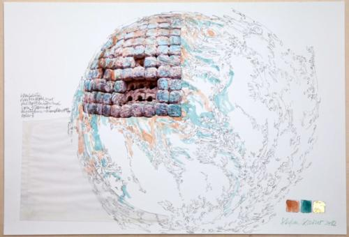 Stefan Kaiser, Wolkenhimmel, 2012, Fotografie, Farbstift, Aquarell, Collage,33 x 48 cm