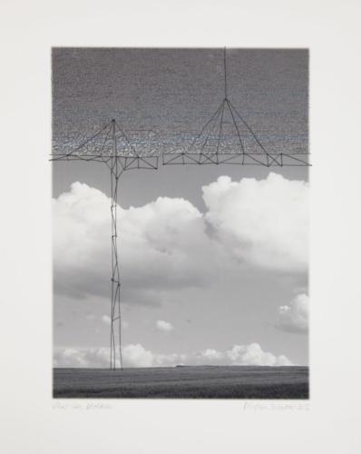 Stefan Kaiser, Über den Wolken, 2016, 37,5 x 27,5 cm, Fotografie, Zeichnung, Eisendraht
